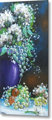 Metal Print featuring the painting Fruit And Flowers Still Life by Patrice Torrillo