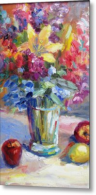 Fruit And Flowers Still Life Metal Print