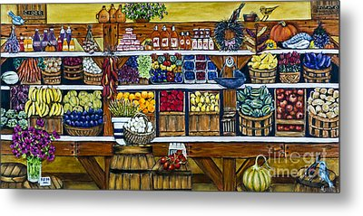 Fruit And Vegetable Market By Alison Tave Metal Print by Sheldon Kralstein