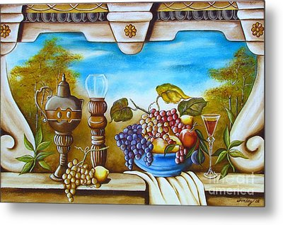 Metal Print featuring the painting Fruit And Vino by Joseph Sonday