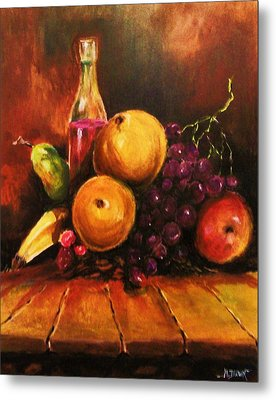 Metal Print featuring the painting Fruit And Wine by Al Brown