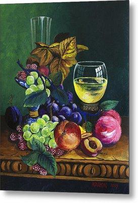 Fruit And Wine Metal Print by Karon Melillo DeVega