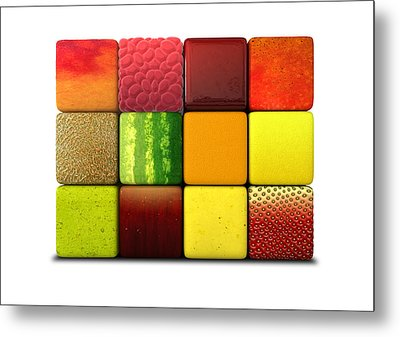 Fruit Cubes Metal Print