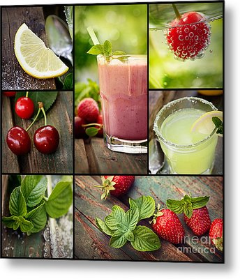 Fruit Drinks Collage Metal Print by Mythja Photography