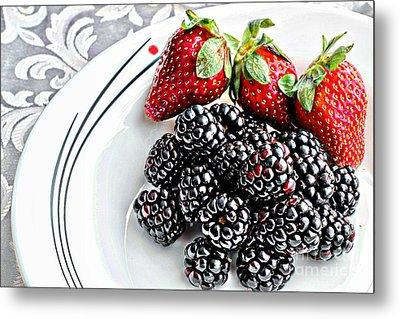 Fruit I - Strawberries - Blackberries Metal Print