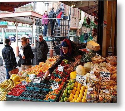 Fruit Market Vendor Metal Print