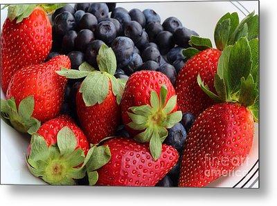 Fruit - Strawberries - Blueberries Metal Print