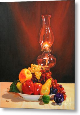 Fruit Under Lamp Light Metal Print