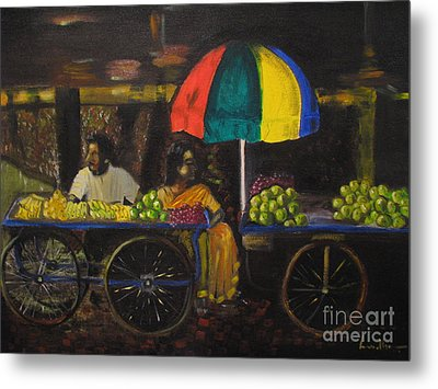 Fruit Vendors Metal Print by Brindha Naveen