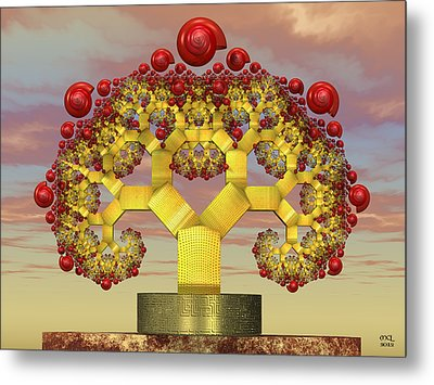 Fruiting Pythagoras Tree Fractal Metal Print