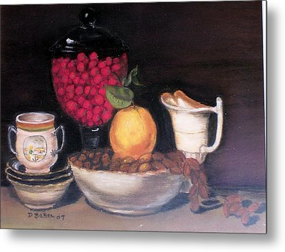 Metal Print featuring the painting Fruits And Nuts by Debbie Baker