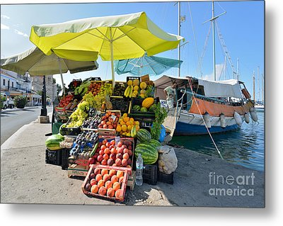 Fruits And Vegetable Store On A Boat In Aegina Port Metal Print