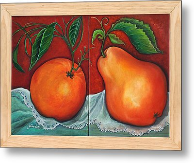 Fruits Pears Metal Print by Yolanda Rodriguez