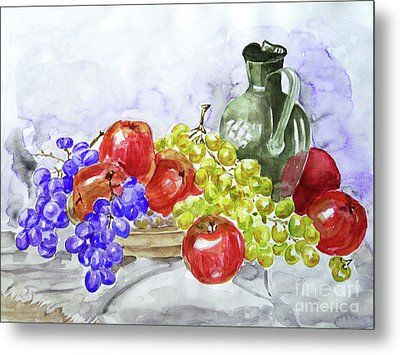 Metal Print featuring the painting Fruit After Him by Jasna Dragun