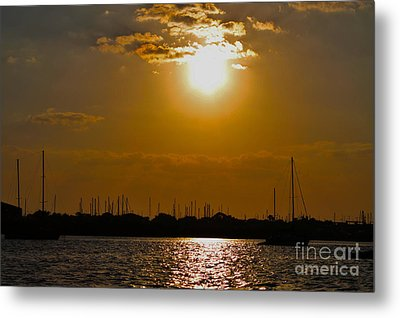 Metal Print featuring the photograph Ft. Pierce Florida Docks At Dusk by Janice Rae Pariza