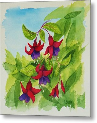 Fuchsias Metal Print by Katherine Young-Beck