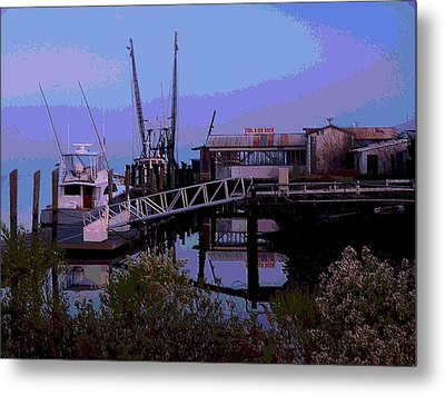 Metal Print featuring the painting Old Brunswick Fuel Dock by Laura Ragland
