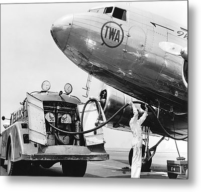 Fueling A Dc-3 Airliner Metal Print