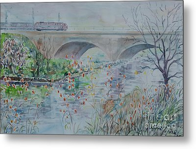 Metal Print featuring the painting Fuerth Seven Arch Bridge Siebenbogenbruecke  by Alfred Motzer