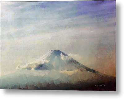 Metal Print featuring the painting Fuji Among The Clouds by Kai Saarto