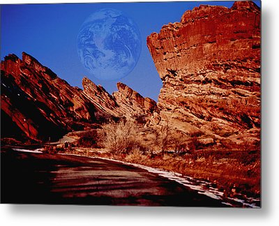 Full Earth Over Red Rocks Metal Print by Kellice Swaggerty