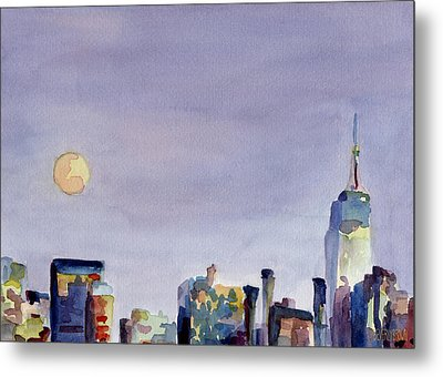 Full Moon And Empire State Building Watercolor Painting Of Nyc Metal Print