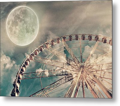 Full Moon And Ferris Wheel Metal Print by Marianna Mills