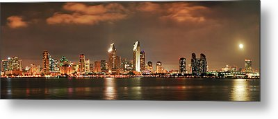 Metal Print featuring the photograph Full Moon And San Diego Skyline Panorama by Lee Kirchhevel