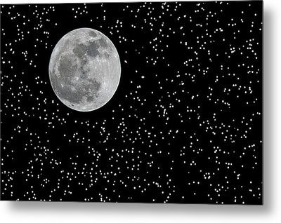 Full Moon And Stars Metal Print by Frank Feliciano