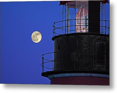 Metal Print featuring the photograph Full Moon And West Quoddy Head Lighthouse Beacon by Marty Saccone