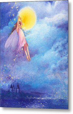 Metal Print featuring the painting Full Moon Fairy Nocturne by Judith Cheng