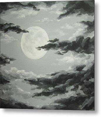 Full Moon In A Cloudy Sky Metal Print by Anna Bronwyn Foley