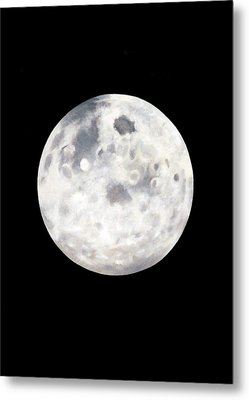 Metal Print featuring the painting Full Moon In Black Night by Janice Dunbar