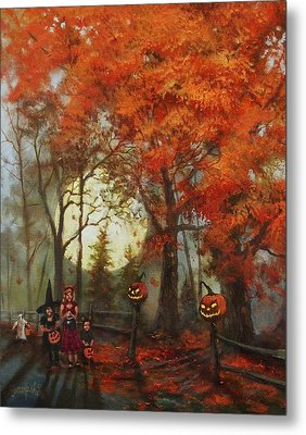 Full Moon On Halloween Lane Metal Print by Tom Shropshire