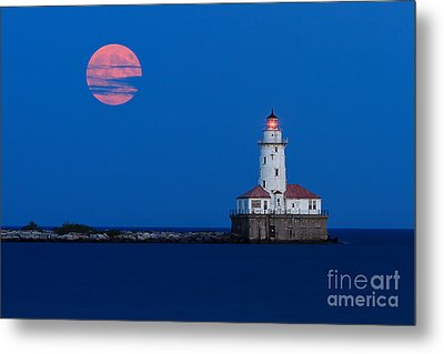 Full Moon Over Chicago Harbor Lighthouse Metal Print by Katherine Gendreau