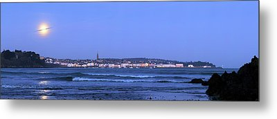 Full Moon Over Coastal Town Metal Print by Laurent Laveder