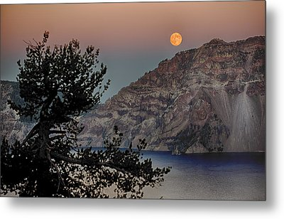 Metal Print featuring the photograph Full Moon Over Crater Lake by Gary Neiss