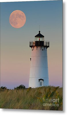Full Moon Over Edgartown Lighthouse Metal Print