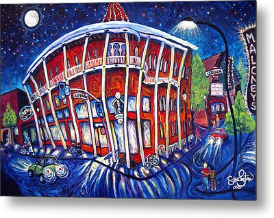 Full Moon Over The Weatherford Metal Print by Steve Lawton