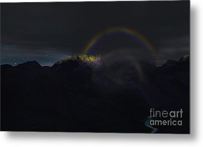 Metal Print featuring the painting Full Moon Rainbow by Pet Serrano