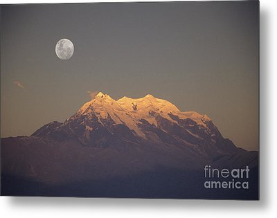 Full Moon Rise Over Mt Illimani Metal Print by James Brunker