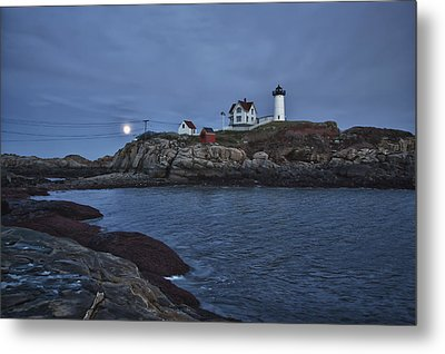 Full Moon Rise Over Nubble Metal Print by Jeff Folger