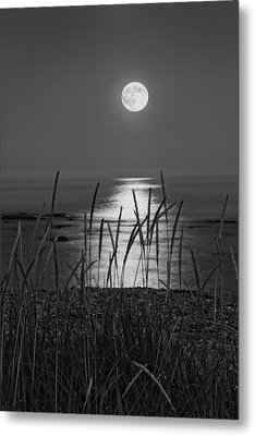 Full Moon Seawall Beach Acadia National Park Metal Print by Keith Webber Jr