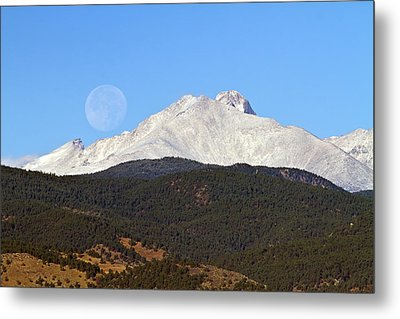 Full Moon Setting Over Snow Covered Twin Peaks  Metal Print