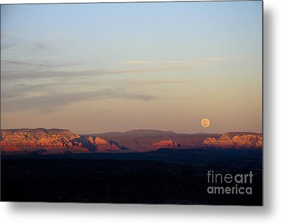 Full Moonrise Over Red Rocks Of Sedona Metal Print by Ron Chilston