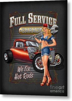 Full Service Garage Metal Print by JQ Licensing