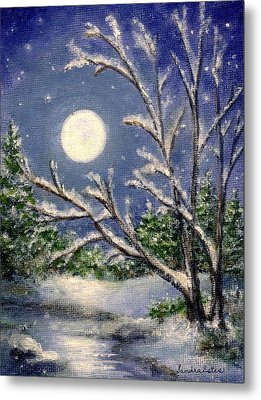 Metal Print featuring the painting Full Snow Moon by Sandra Estes