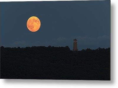 Full Sturgeon Moon Rising Over Quabbin Hill Metal Print by Stephen Gingold