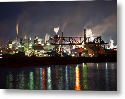 Fumes From Steel Mill In Hamilton Harbour Metal Print