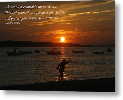 Fun At Sunset/ Inspirational Metal Print by Karen Silvestri